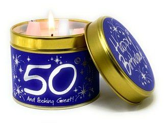 Lily-Flame Candle - Happy Birthday 50th